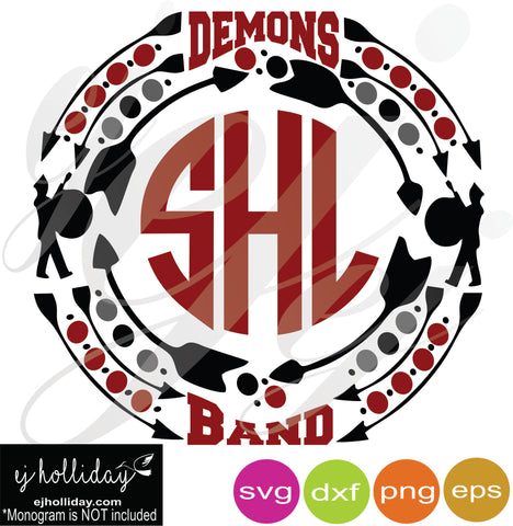Demons Band Monogram Frame SVG EPS DXF PDF JPG JPEG VECTOR Graphic Design Digital Cutting File Instant Download Cameo Silhouette Cricut