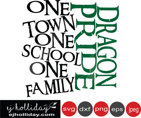 Dragon Pride One town school family 19 svg eps png dxf jpeg jpg vector Graphic Design Digital Cutting File Instant Download Cameo Silhouette Cricut