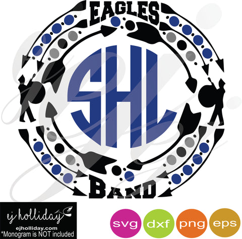 Eagles Band Monogram Frame SVG EPS DXF PDF JPG JPEG VECTOR Graphic Design Digital Cutting File Instant Download Cameo Silhouette Cricut