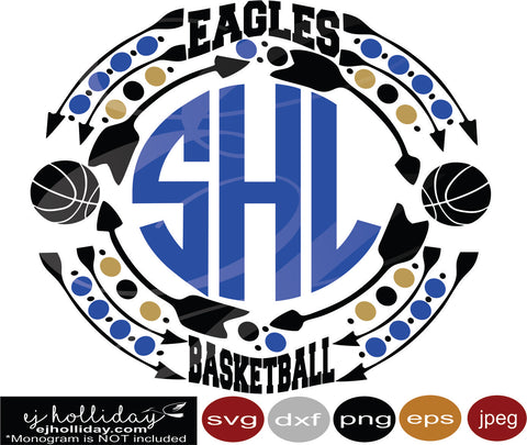 Eagles Basketball Monogram Frame svg eps png dxf jpeg jpg vector Graphic Design Digital Cutting File Instant Download Cameo Silhouette Cricut