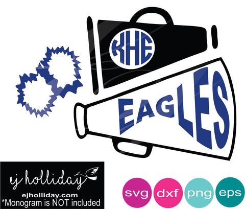 Eagles Megaphone Monogram Pom Pom Cheer svg dxf eps png Vector Graphic Design Digital Cutting File Instant Download Cameo Silhouette Cricut