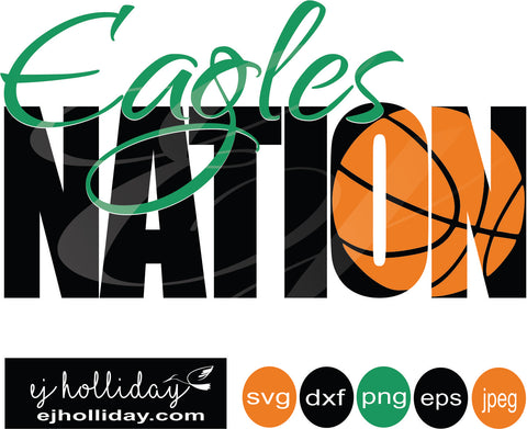 Eagles Nation Basketball  Knockout Design svg eps png dxf jpeg jpg vector Graphic Design Digital Cutting File Instant Download Cameo Silhouette Cricut
