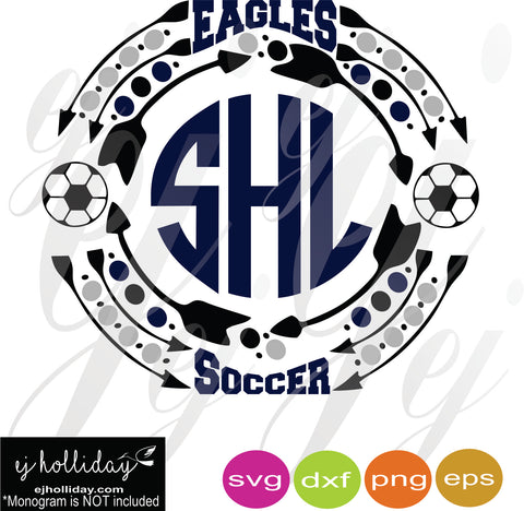 Eagles Soccer Monogram Frame SVG EPS DXF PDF JPG JPEG VECTOR Graphic Design Digital Cutting File Instant Download Cameo Silhouette Cricut