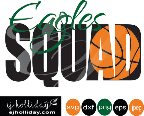 Eagles Squad Basketball Knockout Design 19 svg eps png dxf jpeg jpg vector Graphic Design Digital Cutting File Instant Download Cameo Silhouette Cricut