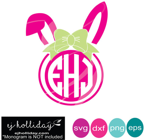 Easter Bunny Monogram SVG EPS DXF PNG VECTOR Graphic Design Digital Cutting File Instant Download Cameo Silhouette Cricut