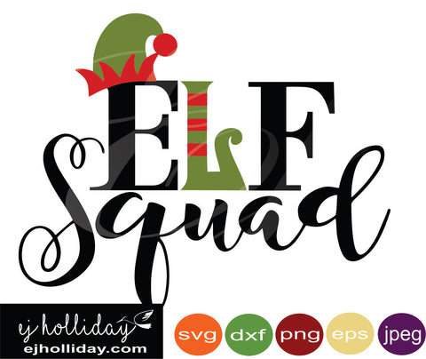 Elf Squad svg eps jpeg jpg png dxf Graphic Design Digital Cutting File Instant Download Cameo Silhouette Cricut