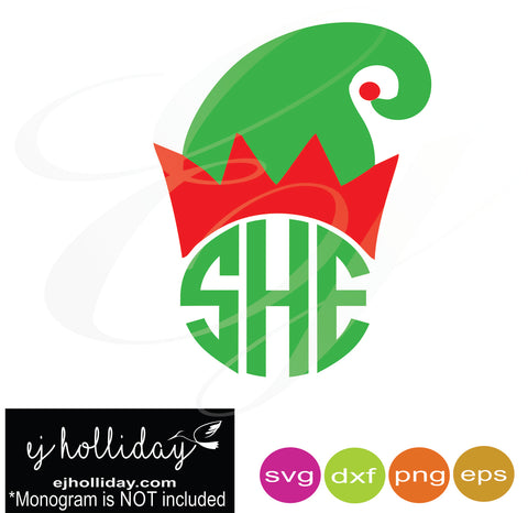 Elf hat  monogram frame svg dxf eps png Vector Graphic Design Digital Cutting File Instant Download Cameo Silhouette Cricut