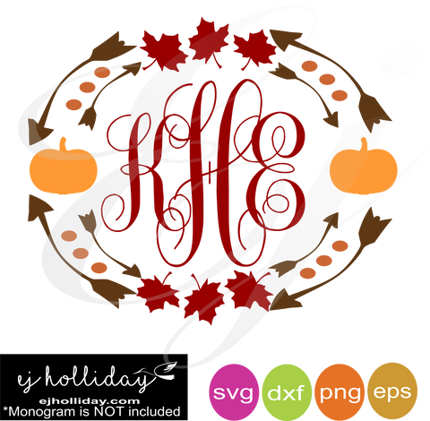 Fall Leaves and Pumpkins monogram frame svg dxf eps png VECTOR Graphic Design Digital Cutting File Instant Download Cameo Silhouette Cricut