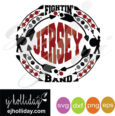 Fightin Jersey Band Monogram Frame SVG EPS DXF PNG VECTOR Graphic Design Digital Cutting File Instant Download Cameo Silhouette Cricut