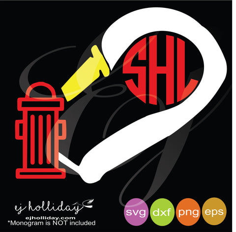 Firefighter Hose with water hydrant heart monogram svg dxf eps png Vector Graphic Design Digital Cutting File Instant Download Cameo Silhouette Cricut