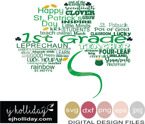 First Grade St. Patricks Shamrock Clover svg eps png dxf jpeg jpg vector Graphic Design Digital Cutting File Instant Download Cameo Silhouette Cricut