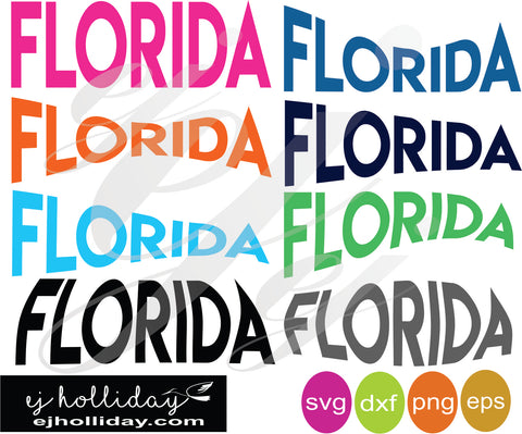 Florida curved svg SVG EPS DXF PNG VECTOR Graphic Design Digital Cutting File Instant Download Cameo Silhouette Cricut