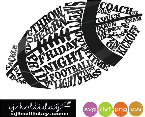 Football word ball dc svg dxf eps png Vector Graphic Design Digital Cutting File Instant Download Cameo Silhouette Cricut