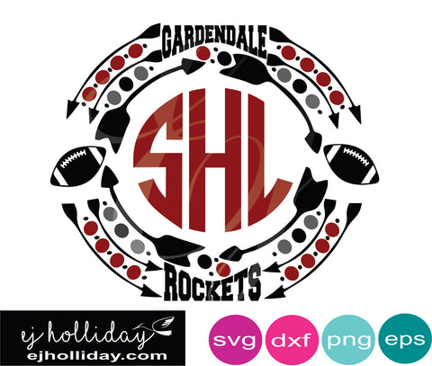 Gardendale Rockets Football Monogram svg dxf eps png Vector Graphic Design Digital Cutting File Instant Download Cameo Silhouette Cricut