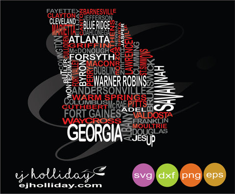 Georgia Cities word wall digital cutting isvg dxf eps png Vector Graphic Design Digital Cutting File Instant Download Cameo Silhouette Cricut