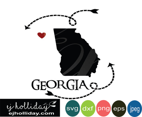 Georgia silhouette heart arrows 18 svg eps dxf png jpeg jpg VECTOR Graphic Design Digital Cutting File Instant Download Cameo Silhouette Cricut