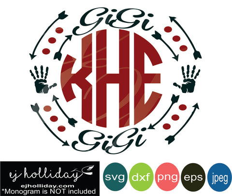Gigi monogram frame with hands arrows and polka dots svg eps png dxf jpeg jpg digital cutting file