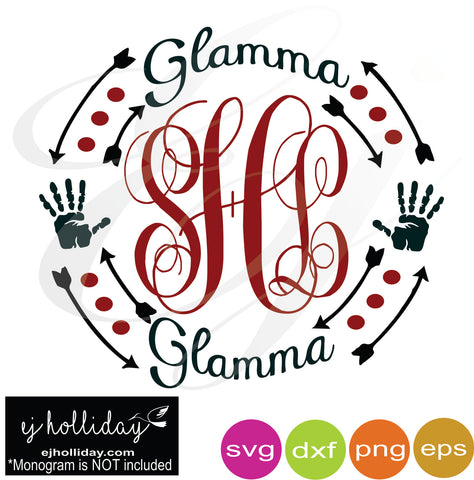 Glamma Curved monogram frame with hands SVG EPS DXF PNG VECTOR Graphic Design Digital Cutting File Instant Download Cameo Silhouette Cricut