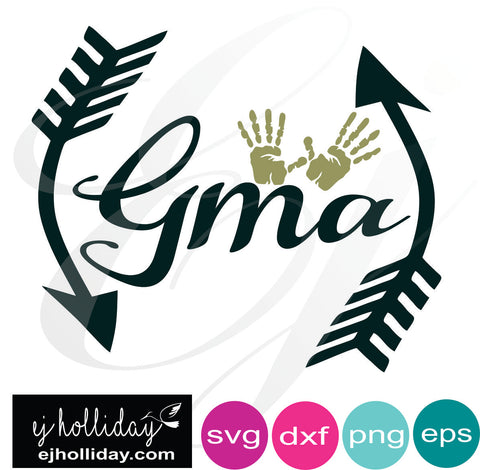 Gma monogram with hands svg EPS DXF PNG VECTOR Graphic Design Digital Cutting File Instant Download Cameo Silhouette Cricut