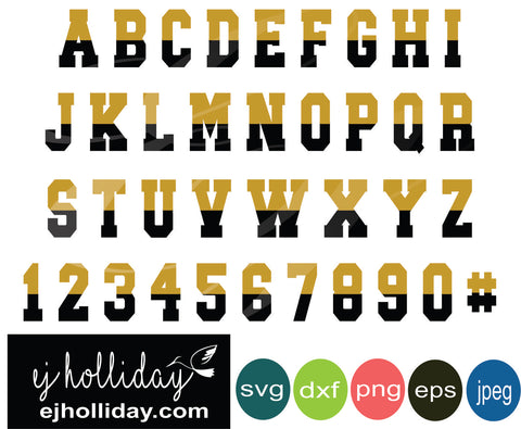 Gold Black two toned layered alphabet set svg eps png dxf jpeg jpg digital cutting file