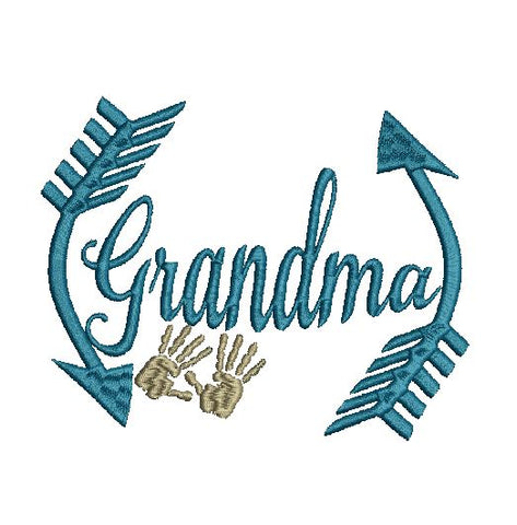 Grandma monogram MEB 5X7 Machine Embroidery Design 5X7 hands arrows