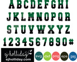 Green black two toned layered alphabet set svg eps png dxf jpeg jpg digital cutting file