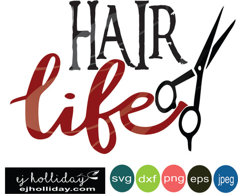 Hair Life Scissors SVG EPS DXF JPG JPEG VECTOR Graphic Design Digital Cutting File Instant Download Cameo Silhouette Cricut