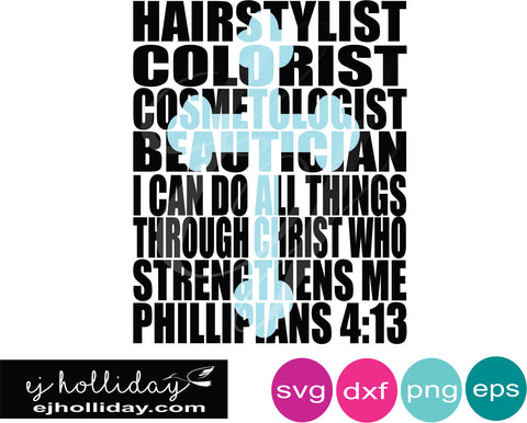 Hairstylist Colorist Pillipians 4:13 knockout design SVG EPS DXF JPG JPEG VECTOR Graphic Design Digital Cutting File Instant Download Cameo Silhouette Cricut