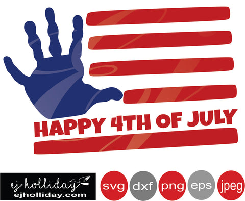 Happy 4th Flag with child's hand 19 svg eps png dxf jpeg jpg VECTOR Graphic Design Digital Cutting File Instant Download
