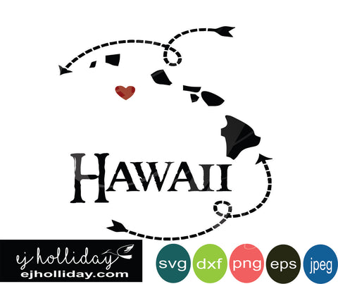 Hawaii silhouette heart arrows 18 svg eps dxf png jpeg jpg VECTOR Graphic Design Digital Cutting File Instant Download Cameo Silhouette Cricut