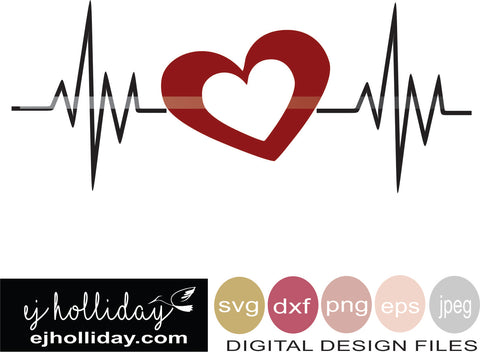 Heart Beat Valentine 19 svg eps dxf png jpeg jpg VECTOR Graphic Design Digital Cutting File Instant Download Cameo Silhouette Cricut