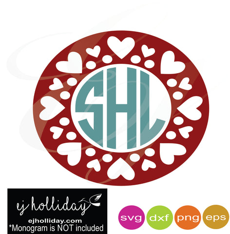 Hearts and Circles monogram frame svg dxf eps png Vector Graphic Design Digital Cutting File Instant Download Cameo Silhouette Cricut