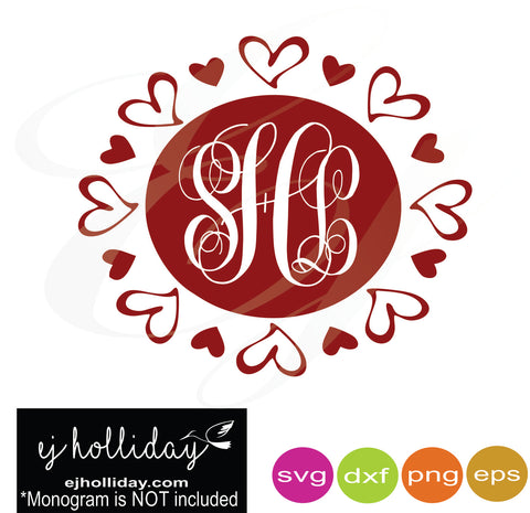 Hearts layered monogram frame svg dxf eps png Vector Graphic Design Digital Cutting File Instant Download Cameo Silhouette Cricut