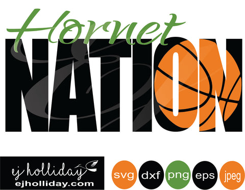Hornet Nation basketball knockout 19 svg eps dxf png jpeg jpg VECTOR Graphic Design Digital Cutting File Instant Download Cameo Silhouette Cricut