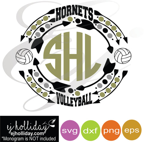 Hornets Volleyball Sports monogram frame SVG EPS DXF PNG VECTOR Graphic Design Digital Cutting File Instant Download Cameo Silhouette Cricut