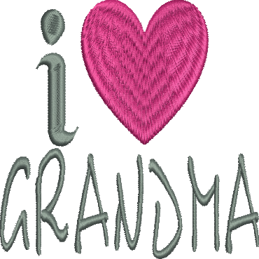 I heart Grandma Embroidery Design
