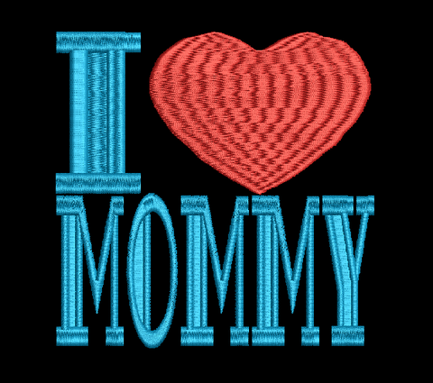 I Heart Mommy Machine Embroidery Design 4X4 5X7 Hoop