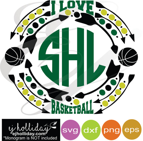 I love basketball sports monogram frame svg dxf eps png Vector Graphic Design Digital Cutting File Instant Download Cameo Silhouette Cricut