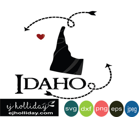 Idaho silhouette heart arrows 18 svg eps dxf png jpeg jpg VECTOR Graphic Design Digital Cutting File Instant Download Cameo Silhouette Cricut