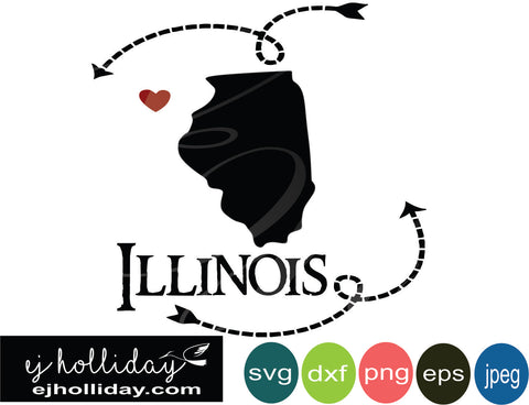 Illinois silhouette heart arrows 18 svg eps dxf png jpeg jpg VECTOR Graphic Design Digital Cutting File Instant Download Cameo Silhouette Cricut