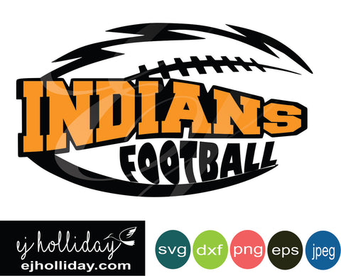 Indians football knockout design svg eps png dxf jpeg jpg digital cutting file