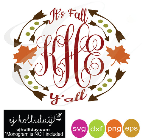 It's Fall Y'all with Leaves svg dxf eps png Vector Graphic Design Digital Cutting File Instant Download Cameo Silhouette Cricut