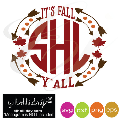 It's fall y'all double leaves monogram frame svg dxf eps png Vector Graphic Design Digital Cutting File Instant Download Cameo Silhouette Cricut