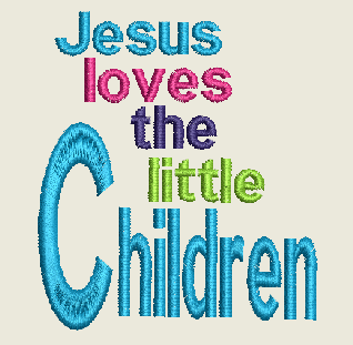 Jesus Loves the Little Children Machine Embroidery Design 3X3