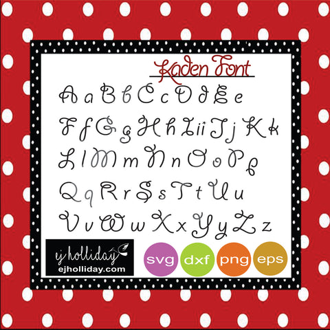 Kaden Font Upper-Lower A-Z svg dxf eps png Vector Graphic Design Digital Cutting File Instant Download Cameo Silhouette Cricut