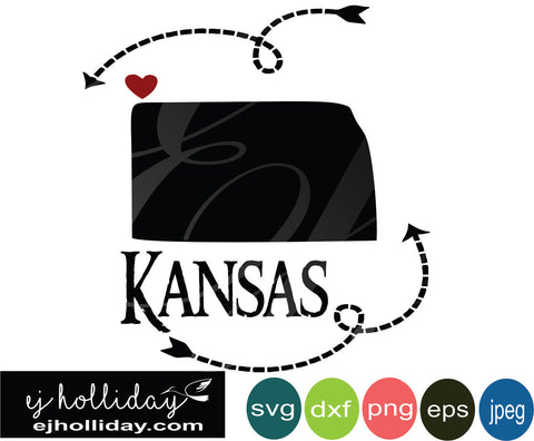 Kansas silhouette heart arrows 18 svg eps png dxf jpeg jpg vector Graphic Design Digital Cutting File Instant Download Cameo Silhouette Cricut