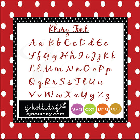 Khory Font Upper-Lower A-Z svg dxf eps png Vector Graphic Design Digital Cutting File Instant Download Cameo Silhouette Cricut
