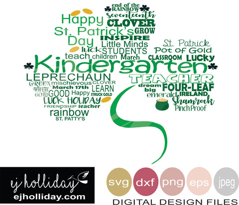 Kindergarten St. Patrick's Shamrock Clover SVG EPS DXF JPG JPEG VECTOR Graphic Design Digital Cutting File Instant Download Cameo Silhouette Cricut