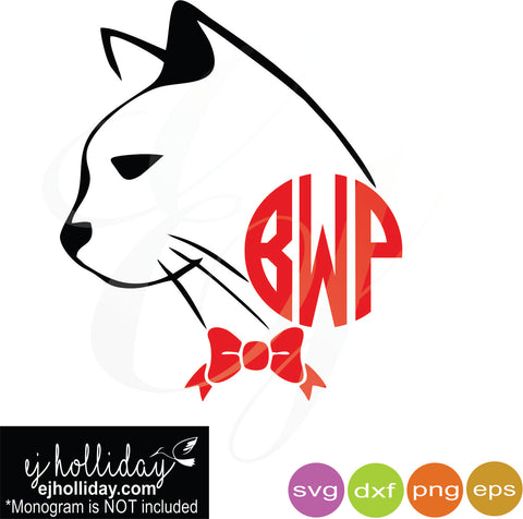 Kitty Monogram and bow svg dxf eps png Vector Graphic Design Digital Cutting File Instant Download Cameo Silhouette Cricut
