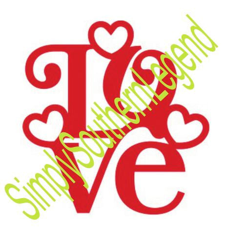 LOVE WITH HEARTS Vinyl Design SVG DXF